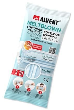 ALVENT Mavi Hijyenik Poşetli Yumuşak Kulaklı Meltblown Maske 50 Adet (EN AZ %98 KORUMA - SERTİFİKALI) 0