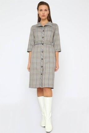 Chima Düğmeli Ekose Elbise 0