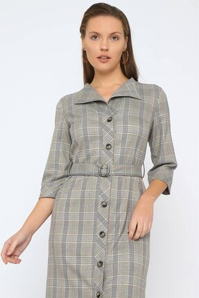 Chima Düğmeli Ekose Elbise 3