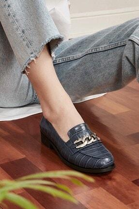 Mio Gusto Kadın Lacivert Bristol Oxford Ayakkabı 1