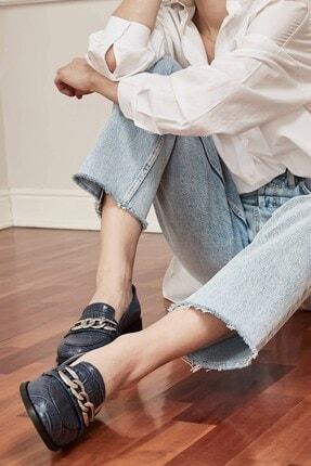 Mio Gusto Kadın Lacivert Bristol Oxford Ayakkabı 2