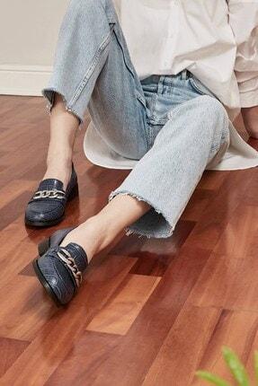 Mio Gusto Kadın Lacivert Bristol Oxford Ayakkabı 3