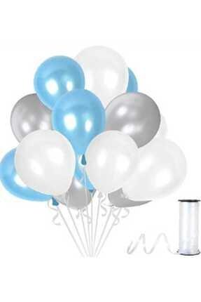 Magic Hobby 30 Adet Gümüş - Beyaz- Mavi Metalik Balon 3'lü Renk - 12 Inç 0