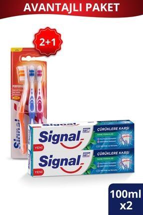 Signal Çürüklere Karşı Diş Macunu 100 ml X2 Adet + Performans Diş Fırçası 2+1 0