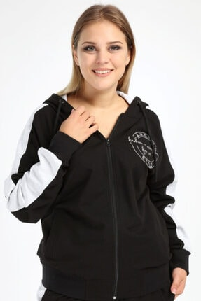 Picture of Kadın Siyah Spor Giyim Fermuarlı Kapüşonlu Sweatshirt 2527-a