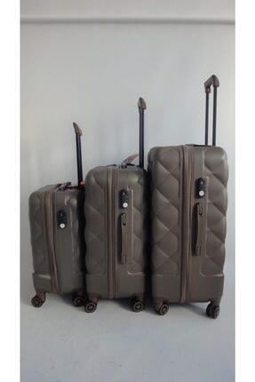 Cap Polo's Unisex Kahverengi Sert Plastik Valiz Seti 3'lü 4