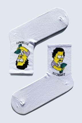 CARNAVAL SOCKS 5'Lİ Simpson EskoBart Kafalar Tasarım Renkli Çorap Set 1032 1