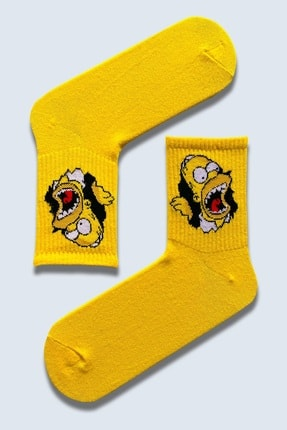 CARNAVAL SOCKS 5'Lİ Simpson EskoBart Kafalar Tasarım Renkli Çorap Set 1032 2