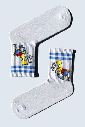 CARNAVAL SOCKS 5'Lİ Simpson EskoBart Kafalar Tasarım Renkli Çorap Set 1032 4