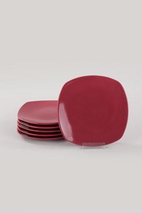 Keramika Carmen Kırmızı Köşem Pasta Tabağı 22 Cm 6 Adet 4