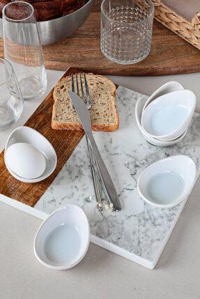Keramika Beyaz Mini Gondol Çerezlik / Sosluk 8 Cm 6 Adet 0