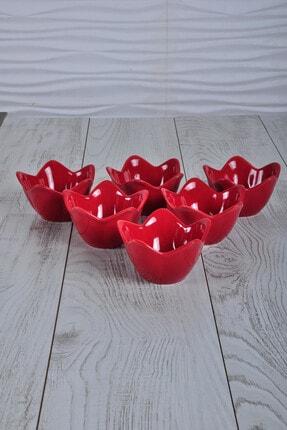 Keramika Kırmızı Zambak Çerezlik / Sosluk 12 Cm 6 Adet 0