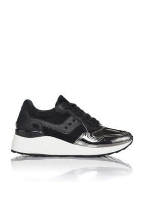 İnci Kadın Gümüş Siyah Vegan Ayna Süet Bağcıklı Klasik Spor Ayakkabı -3003 0