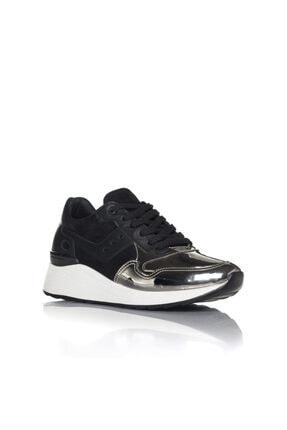 İnci Kadın Gümüş Siyah Vegan Ayna Süet Bağcıklı Klasik Spor Ayakkabı -3003 1