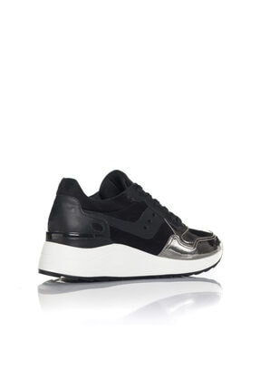 İnci Kadın Gümüş Siyah Vegan Ayna Süet Bağcıklı Klasik Spor Ayakkabı -3003 2