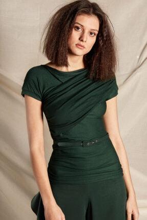 Gogo Fashion Kadın Örme Bluz Drape Detaylı Bluz 0