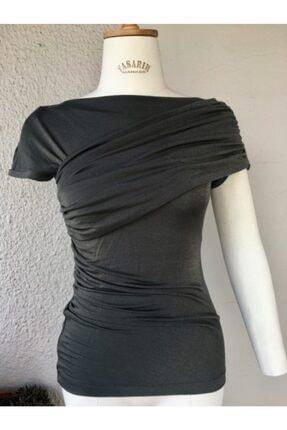 Gogo Fashion Kadın Örme Bluz Drape Detaylı Bluz 1