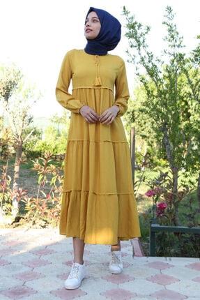 Bigdart Kadın Sarı Yaka Bağcıklı Tesettür Elbise 1627 1