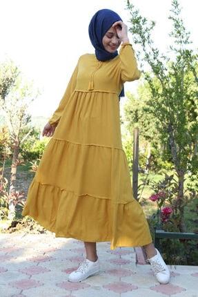 Bigdart Kadın Sarı Yaka Bağcıklı Tesettür Elbise 1627 2