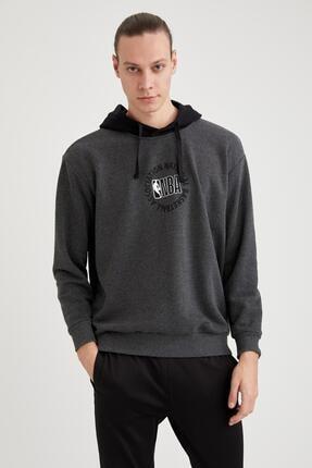 Defacto Erkek Nba Lisanslı Unisex Oversize Fit Kapüşonlu Sweatshirt 0