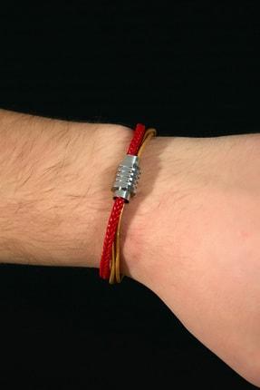 Sateen Men Erkek Sarı-Kırmızı Çelik Uçlu Örgü Bileklik 0