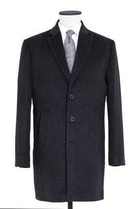 Erkek Lacivert Desenli Ceket Yaka Palto resmi
