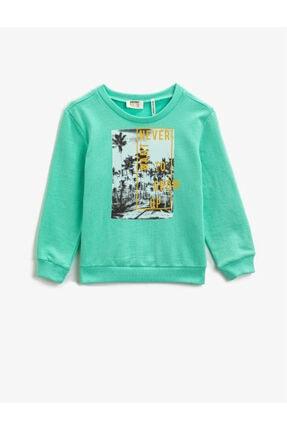 Koton Pamuklu Baskılı Bisiklet Yaka Uzun Kollu Sweatshirt - Mint 0