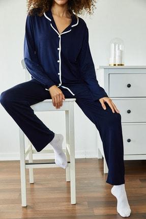 Xena Kadın Lacivert Yumuşak Dokulu Esnek Örme Pijama Takımı 1KZK8-11024-14 2