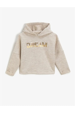 Koton Kız Çocuk Beyaz Kapüşonlu Yazılı Baskılı Uzun Kollu Sweatshirt 0