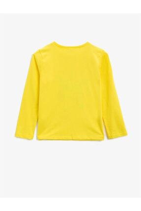 Koton Kız Çocuk Sarı Pamuklu Simli Baskili Bisiklet Yaka Uzun Kollu Tshirt 1
