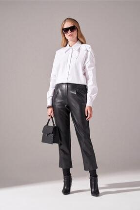 Kadın Siyah Pileli Basic Deri Pantolon resmi