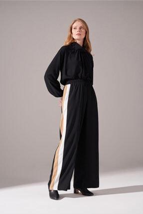 Kadın Siyah Yanları Şeritli Krep Pantolon resmi
