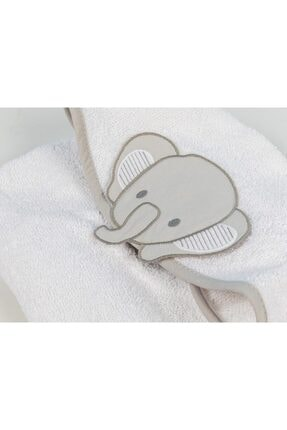 English Home Happy Elephants Pamuklu Çocuk Panço 1-2 Yaş Beyaz 1