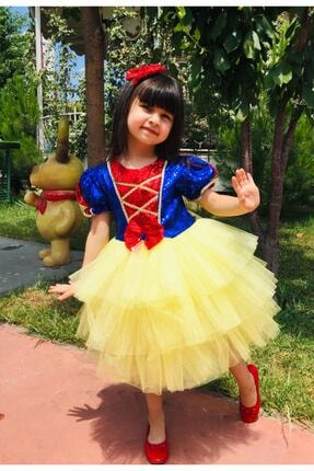 Mixie Kız Çocuk Sarı Pamuk Prenses Doğum Günü Kostüm Elbisesi 2