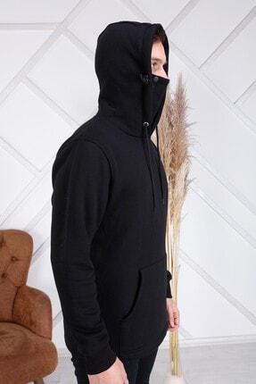 ZEKA GRUP TEKSTİL Erkek Siyah Kendinden Maskeli Kapüşonlu Kanguru Cepli Sweatshirt 2