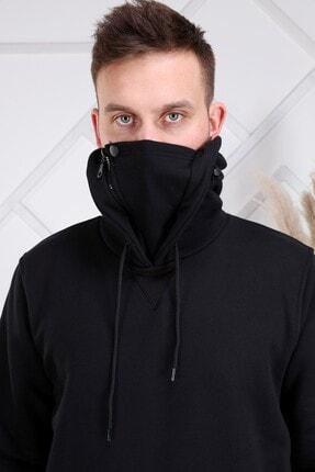 ZEKA GRUP TEKSTİL Erkek Siyah Kendinden Maskeli Kapüşonlu Kanguru Cepli Sweatshirt 4