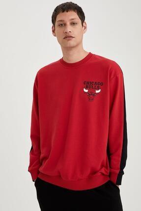 Defacto Erkek Kırmızı Nba Lisanslı Unisex Oversize Fit Sweatshirt 4
