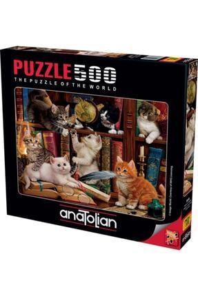 Anatolian Puzzle 2020 Yeni Koleksiyon 500 Parça Kediler Ve Kitaplar/ Kittens In The Library Kod 3618 1