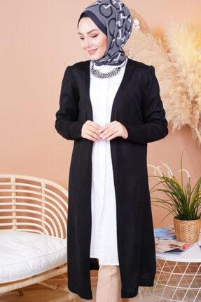 FY Giyim Kadın Siyah Mevsimlik Uzun Triko Hırka 1