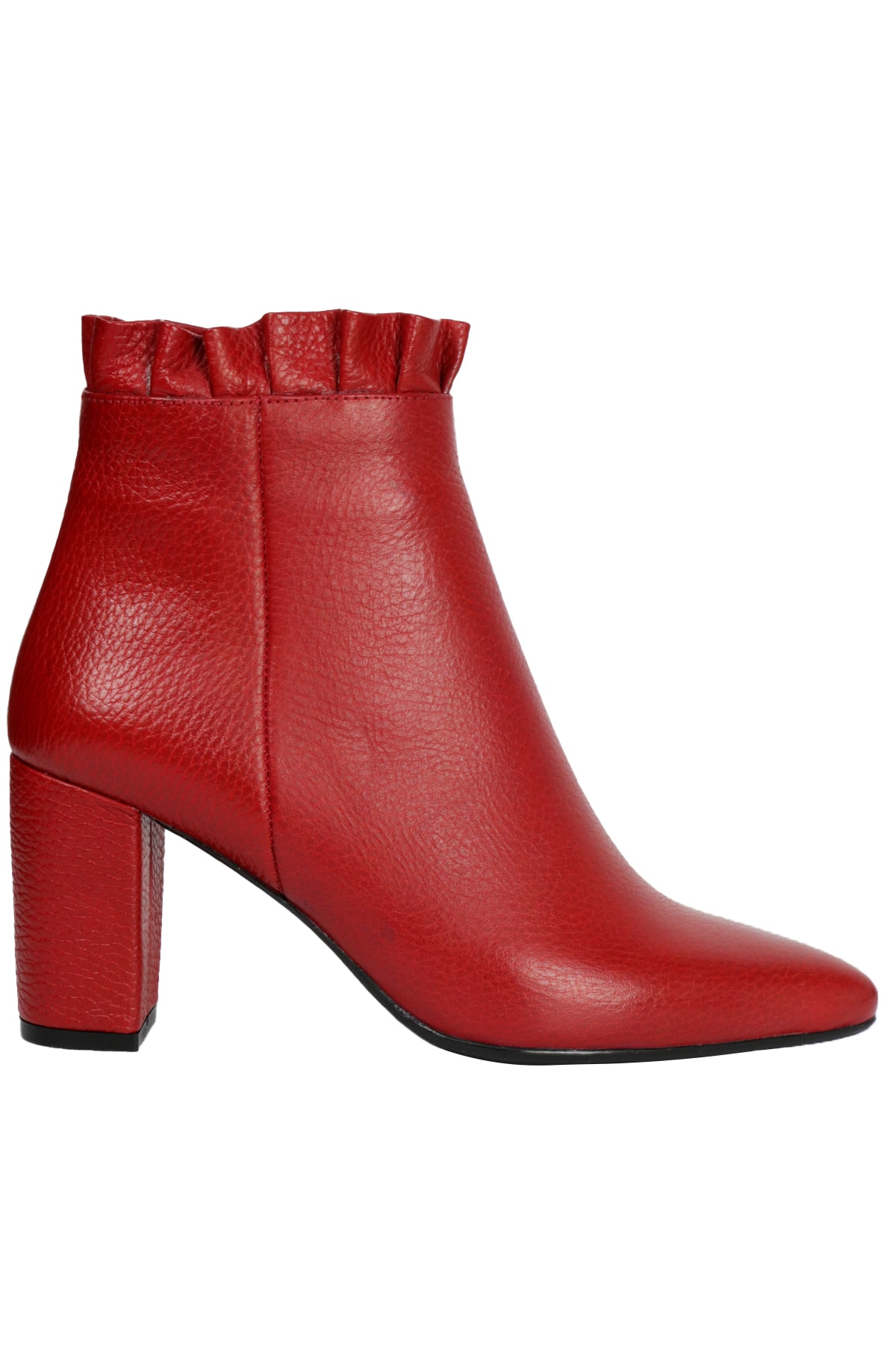 Kadın Kırmızı Flotur Topuklu Deri Bot