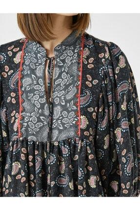 Koton Kadın Gri El Emeği İşlemeli Desenli Uzun Kollu Elbise 4