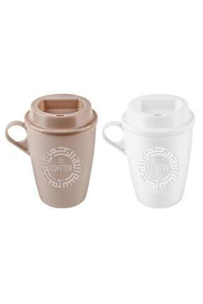 KRD Home Krem ve Beyaz  Kahve Bardağı 2'li 1