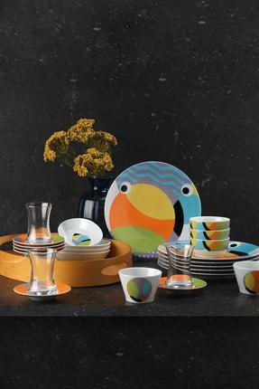 Kütahya Porselen Turuncu 36 Parça Desenli Kahvaltı Takımı 10955 1