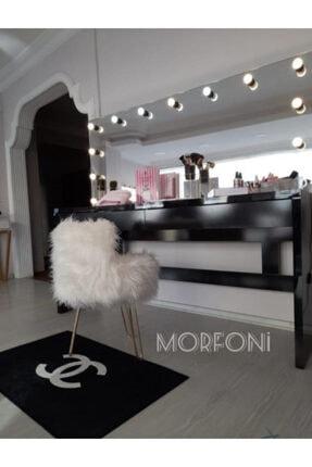 Morfoni Peluş Puf Beyaz Renk Peluş Kumaş - Gold Ayak Mrf-4787 1