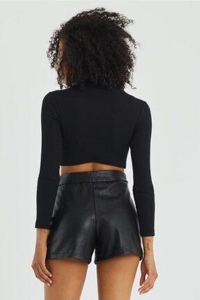 The Base Kadın Siyah Kaşkorse Kumaş Balıkçı Yaka Crop Bluz 2