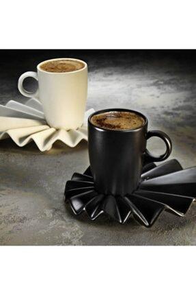 Kütahya Porselen Siyah & Krem Adora Kahve Takımı 0