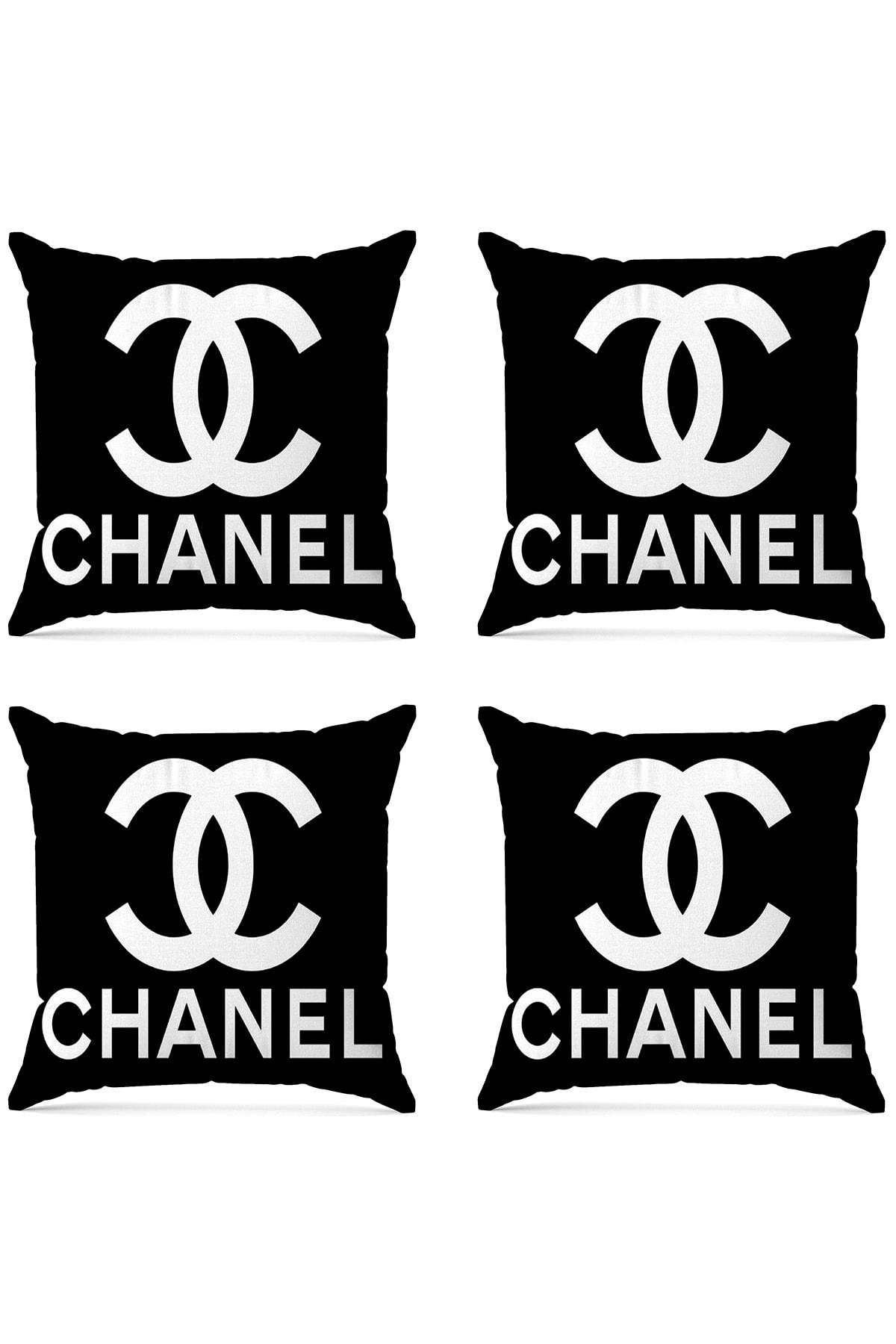 Chanel Dijital Baskılı Dekoratif 4'lü Kırlent Kılıfı