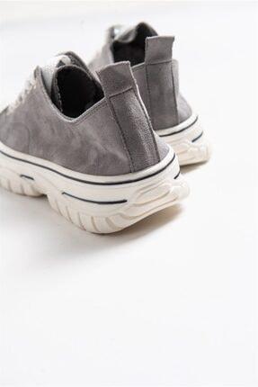 LuviShoes 1453 Gri Süet Kadın Spor Ayakkabı 2