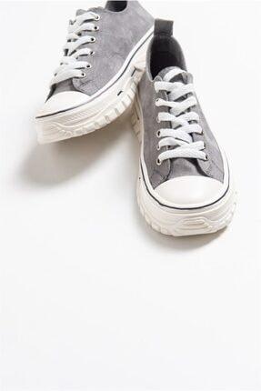 LuviShoes 1453 Gri Süet Kadın Spor Ayakkabı 3