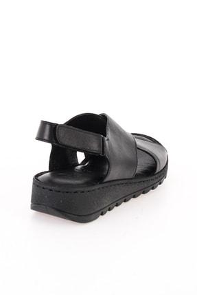 Bambi Hakiki Deri Siyah Kadın Sandalet L0529001903 3